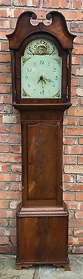Antique Inlaid Mahogany 30 Hour Longcase Grandfather Clock Corinthian Columns