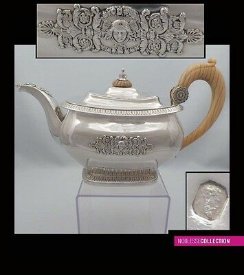 RARE ANTIQUE 1820s FRENCH STERLING SILVER TEA POT 29oz Empire St Paris 1819-1838