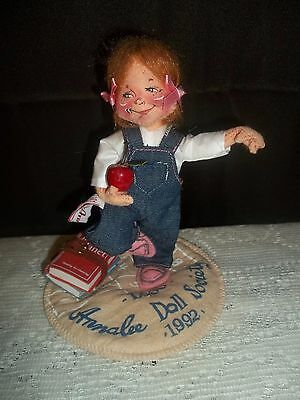 """Annalee Dolls 1992 Logo Doll Society School Girl With Books and Apple 6"""""""