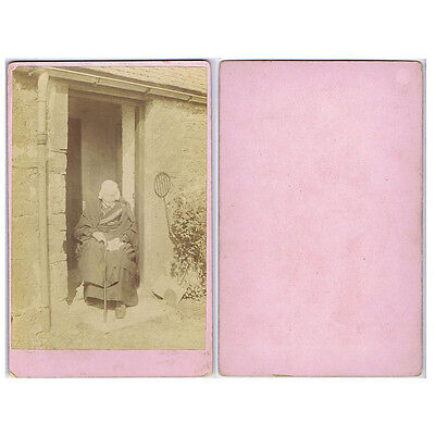 Cabinet Card Photograph Old Victorian Lady sitting with Cane at her Front Door