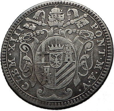 1758 Papal Vatican Rome Pope CLEMENT XIII Antique Silver Giulio Coin i60056
