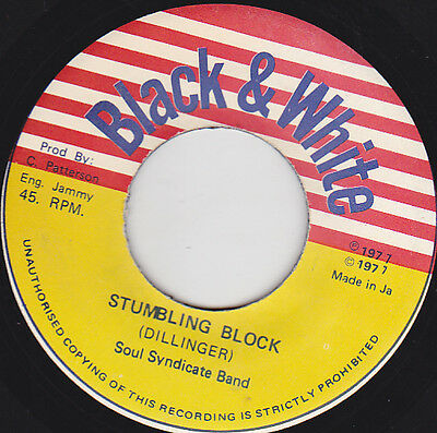 "DILLINGER Stumbling Block KING TUBBYS Page One 7"" Black & White Records Jamaica"