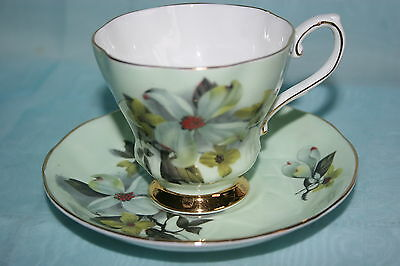 Lovely Vint Royal Grafton bone china cup saucer set- Floral on pastell green