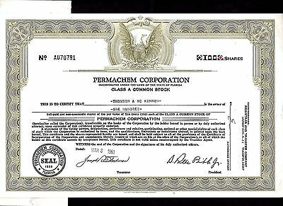 1961 Permachem Stock Certificate with Power of Attorney stapled to back