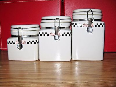 COCA COLA RETRO VINTAGE KITCHEN CANISTERS - by Gibson Coke - Set of 3 COLLECTIBL
