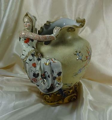 Antique Rudolstadt Porcelain Vase w/Figure - Germany  c1910  Rare Design