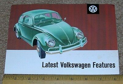 """LATEST VOLKSWAGEN FEATURES"" Car Dealer Sales Brochure Catalog VW 1960's"
