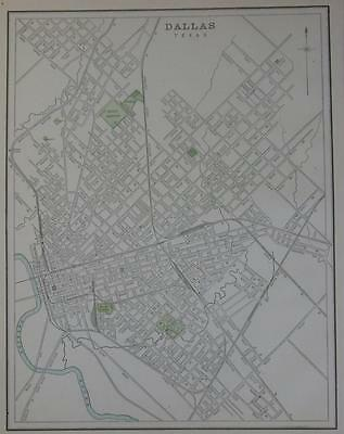 1891 Dallas, Texas Antique Atlas Map** Buffalo map is on back 126 yrs-old!