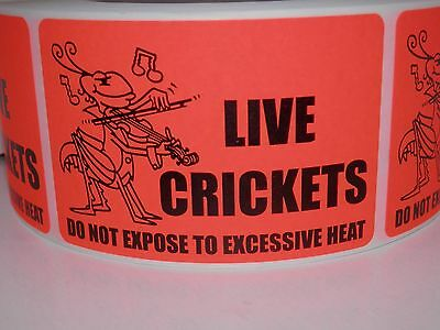 LIVE CRICKETS DO NOT EXPOSE TO EXCESSIVE HEAT warning sticker label 50 labels
