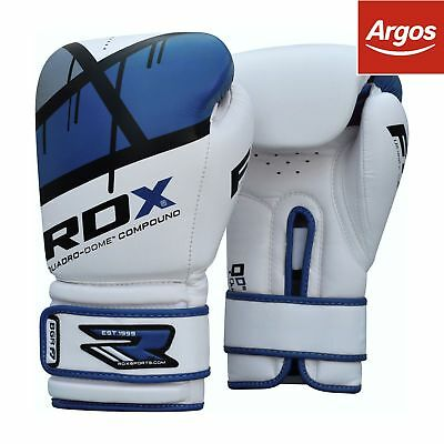 RDX 14 Oz Leather Boxing Gloves - Blue.