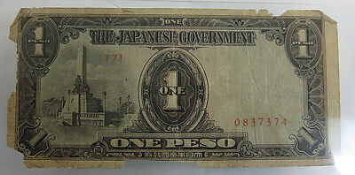 Japanese Government One Peso - Invasion Money (Philippine peso)  Free Shipping *
