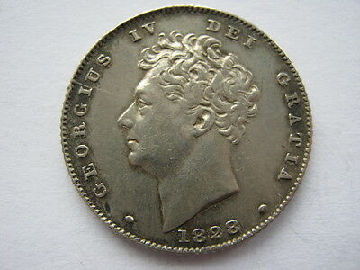 1828 Sixpence VF cleaned
