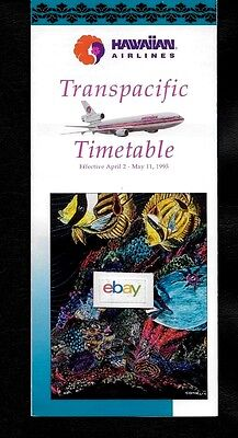 """Hawaiian Airlines 4-2-1995 System Timetable Dc-10 """"uhu"""" Cindy Conklin Art Work"""
