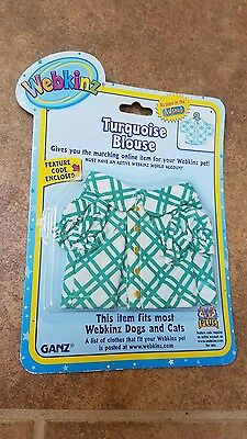 Webkinz Pet Clothing TURQUOISE BLOUSE Dogs & Cats Ganz New in package pants