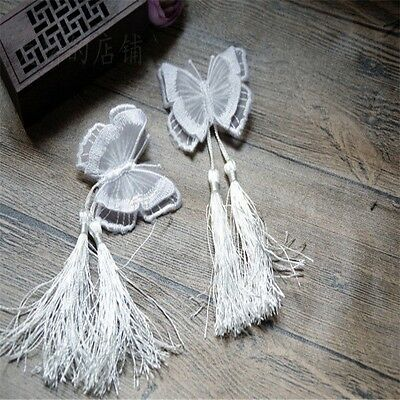 Lolita Girls Chinese style Double Embroidery Butterfly Tassel Hair Accessory