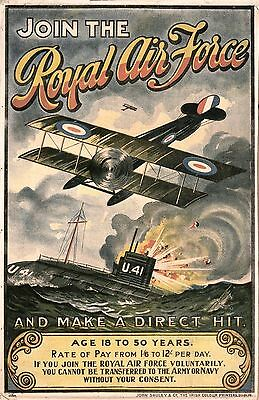 """Ww1 Join The Royal Air Force Recruitment  Poster 8""""x6"""" Metal Sign No 1"""