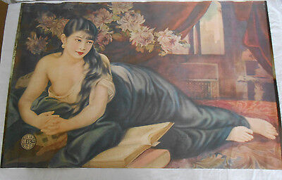 Vintage Chinese cigarette advertisement poster semi nude in blue