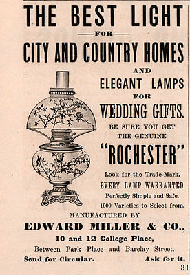 1891 A Ad  Edward Miller Co City Country Elegant Lamps Rochester