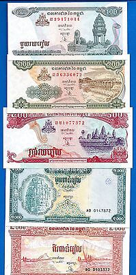 Cambodia 100, 200, 500, 1000, 2000 Riels Uncirculated  Set # 8 FREE SHIPPING