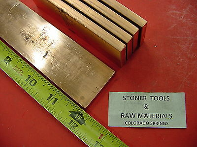 "5 Pieces 1/4""x 1-1/2"" C110 COPPER BAR 12"" long Solid Flat .25"" Bus Bar Stock H02"