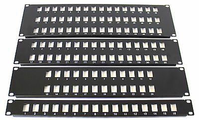 "16 Port 19"" Rack Mount Keystone Frame Panel for Data Cabinets, Patch Connections"