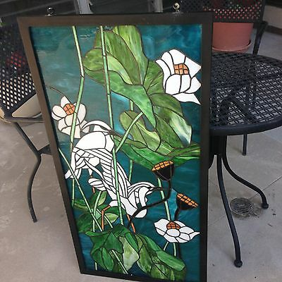 Stained Glass Window Beautiful Blues Greens Egrets