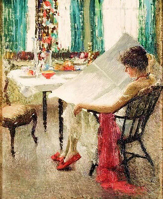 Oil painting Nice young woman reading newspaper - Morning News handpainted art