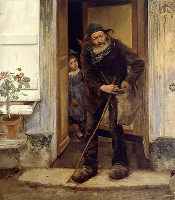 Oil painting Jules Bastien-Lepage French Portrait The Beggar with little girl