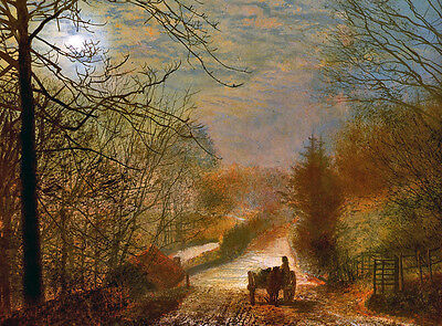 Large oil painting John Atkinson - Carriage in autumn sunset landscape canvas