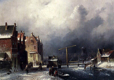 Fine Oil painting village winter landscape in ancient old town Hand painted