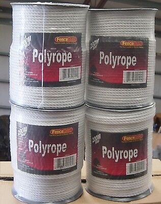 """4 rolls 1/4"""" Horse polyrope 656' electric fence  White"""
