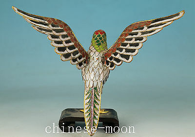 Super Chinese Cloisonne Handmade Carved Eagle Statue Figure Stand Wood Ornament