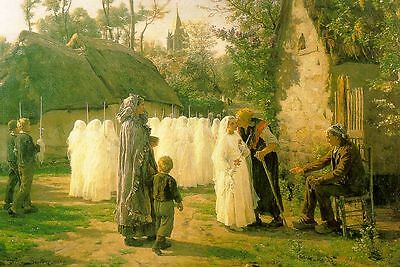 Oil Breton, Jules French The Communicants (The First Communion Hand painted
