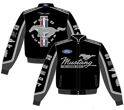 2017 Ford Mustang Racing Jacket Black Collage Mens Cotton Twill By JH Design NEW
