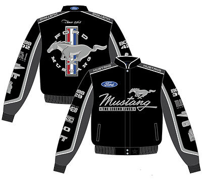 Ford Mustang Jacket Black Cotton Twill Collage Embroidered JH Design BEST BUY
