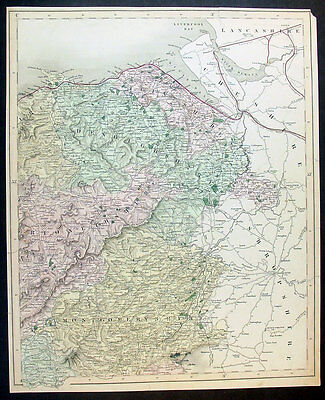 1835 Walker Antique Map of NE Wales Montgomery to Flint