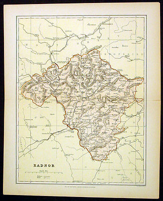 1886 Weller Antique Map Welsh County of Radnor
