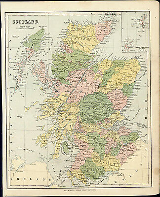 1880 Gall & Inglis Antique Map of Scotland
