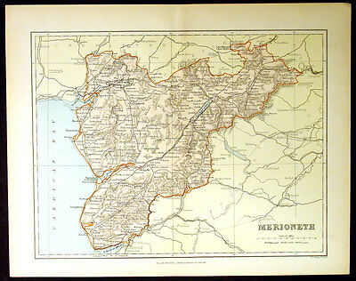 1886 Weller Antique Map Welsh County of Merionth