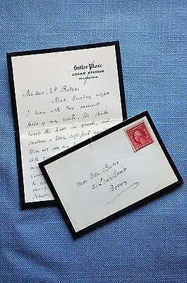 Letter & Envelope Addressed to Oric Bates from Owen Wister