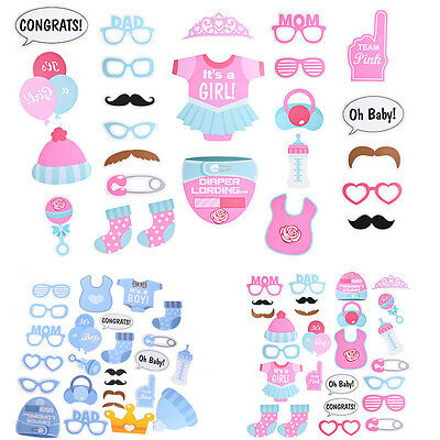 25Pcs Baby Shower Boy Girl Blue Pink Birthday Party Photo Booth Props New