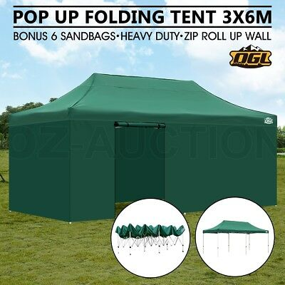 OGL Pop Up Outdoor Gazebo Folding Tent Party Marquee Shade Canopy 3x6M Green