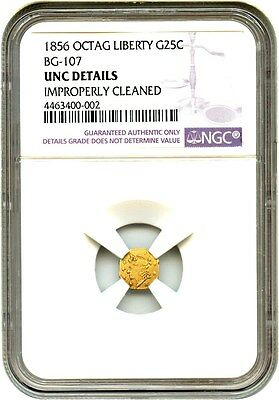 1856 Cal. Gold Octag Liberty 25c NGC UNC Details (BG-107, Improperly Cleaned)