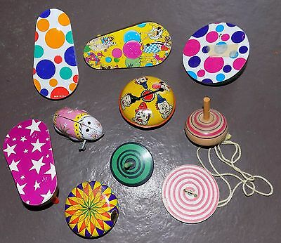 VTG LOT Classic Tin Litho & Wooden Toys Ratchet Noise Makers Spinning Tops Yo-yo