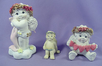 Lot/3 Dreamsicles Collectible Angel Figurines Baby 2000 Heartstrings Kristin