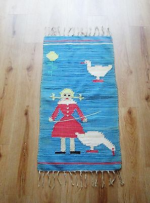 1950's / 1960's Folk Art Hand Weaved Tapestry Rug - Beautiful Colours - Geese