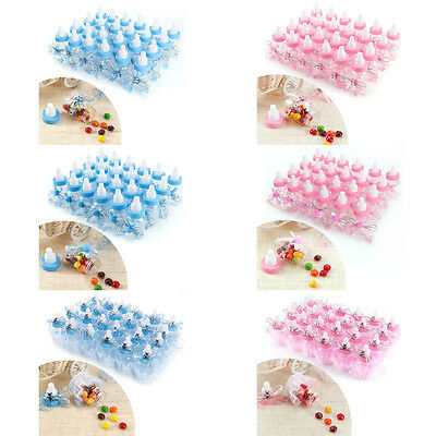 24 Blue Pink Mini Bottles Girl/Boy Baby Shower Party Favours Table Decoration