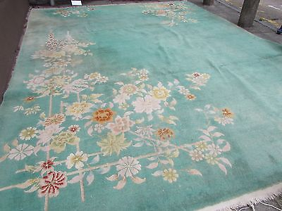 Shabby Chic Antique Hand Made Art Deco Green Wool Chinese Large Carpet 462x368