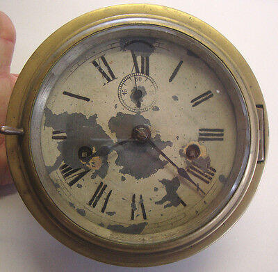 Antique two hole ships bulkhead wall clock