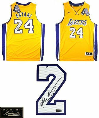Kobe Bryant Autographed/Signed Los Angeles Lakers Gold Adidas Swingman Jersey